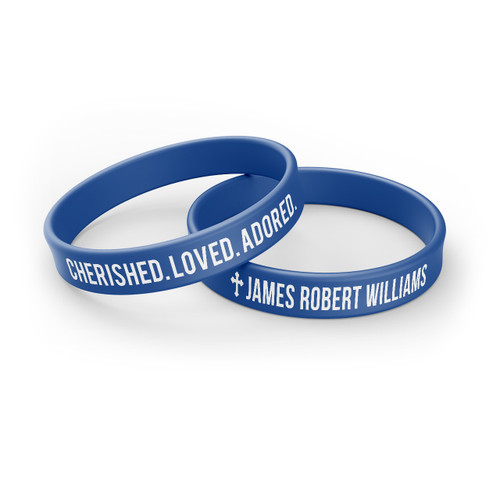 Personalized In Loving Memory Silicone Bracelet - Cherished Loved Adored blue