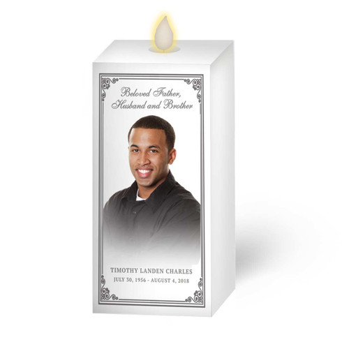 Dancing Wick LED Memorial Candle - Square Pillar Borders
