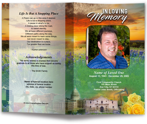Texas Funeral Program Template