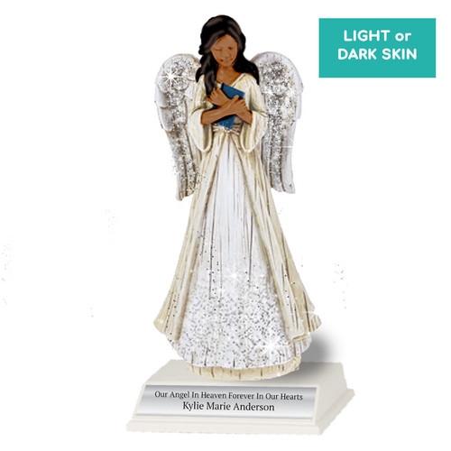 Personalized Sparkle Memorial Angel Figurine Book With Stand dark skin