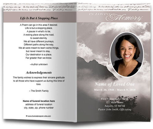 Mountain Funeral Program Template