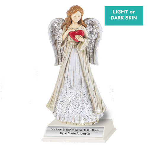 Personalized Sparkle Memorial Angel Figurine Heart With Stand light skin