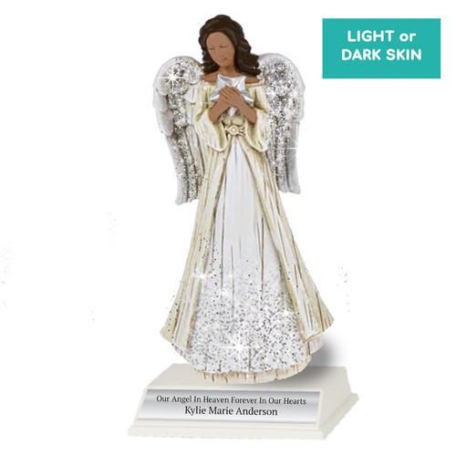 Personalized Sparkle Memorial Angel Figurine Star With Stand dark skin
