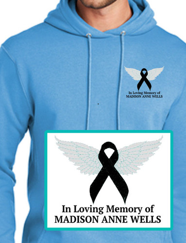 Cancer Ribbon Angel Embroidery Fleece Hooded Memorial Sweatshirt