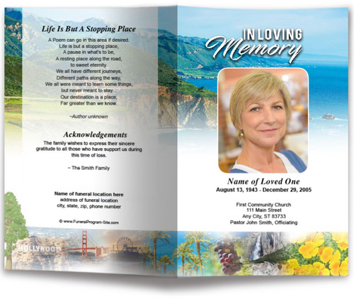 California Funeral Program Template