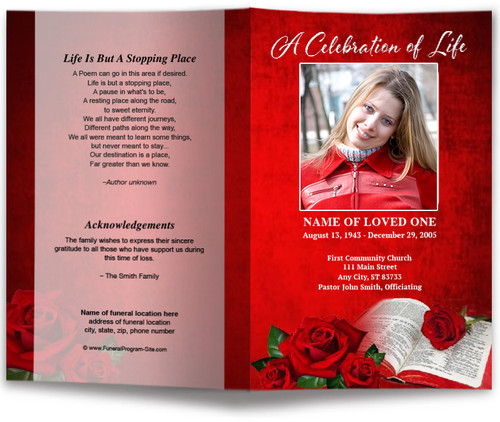 Rose Bible Letter Funeral Program Template