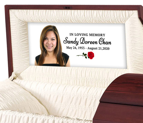Simple Rose Personalized Casket Panel Insert sample
