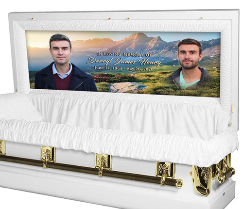Mountain Landscape Personalized Casket Panel Insert - Full Couch