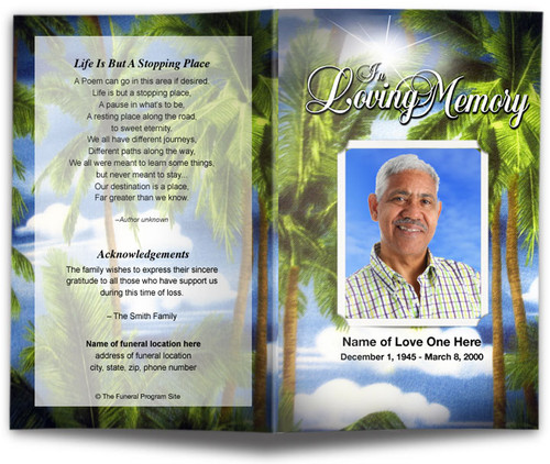 Paradise Funeral Program Template