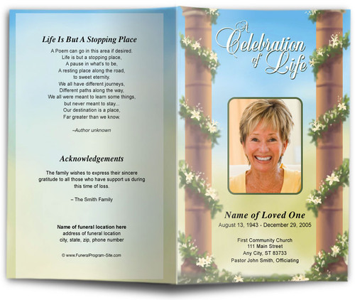Pillars Funeral Program Template