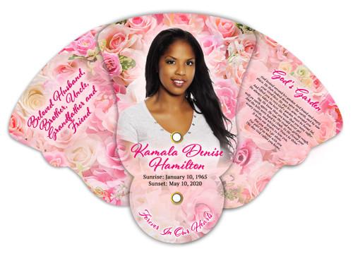 Pink Petals Memorial Custom Folding Hand Held Fan
