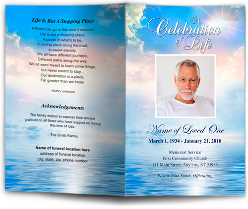 Starlight Funeral Program Template front back view