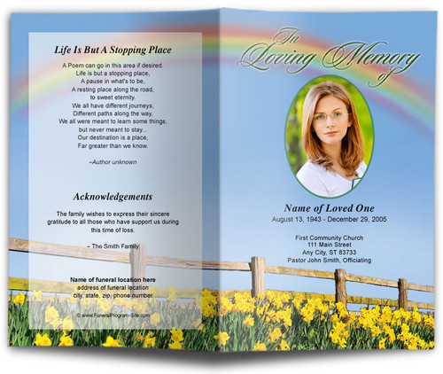 Rainbow Funeral Program Template
