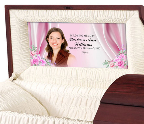 Satin Roses Personalized Casket Panel Insert