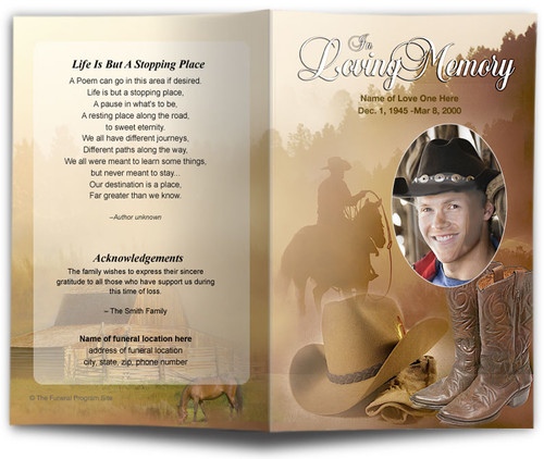 Ranch Funeral Program Template