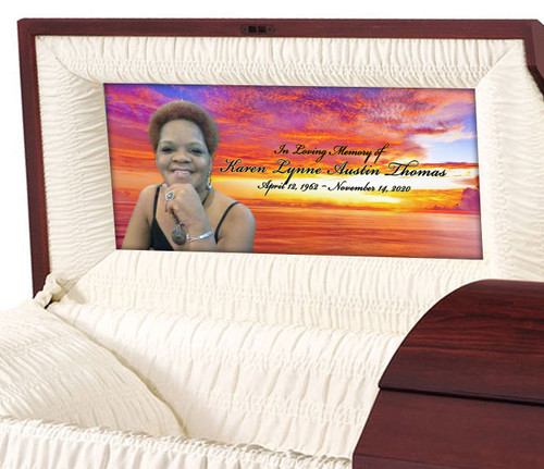 Custom Casket Panel Insert - Coral Skies Design
