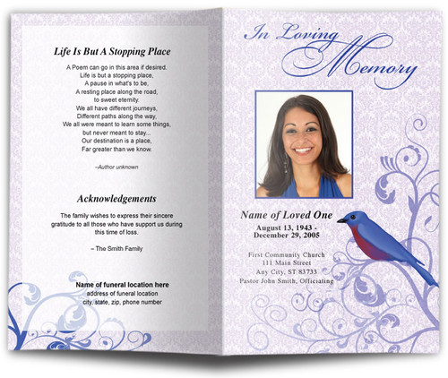 Robin Funeral Program Template