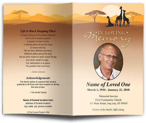 Safari Funeral Program Template
