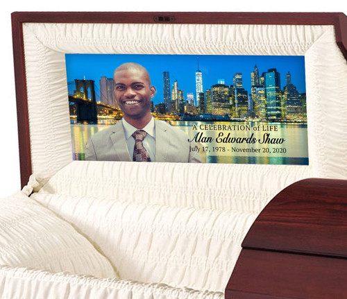 Custom Casket Panel Insert - New York City Design