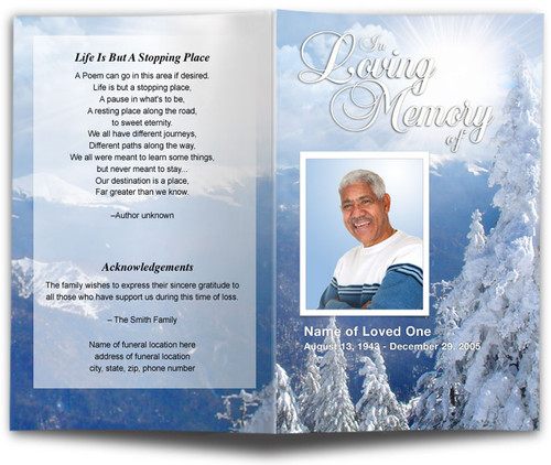 Snowcaps Funeral Program Template