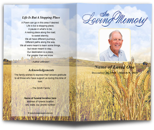 Wheat Funeral Program Template