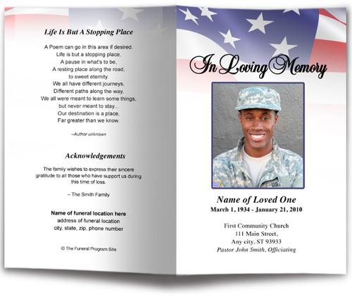 America Funeral Program Template