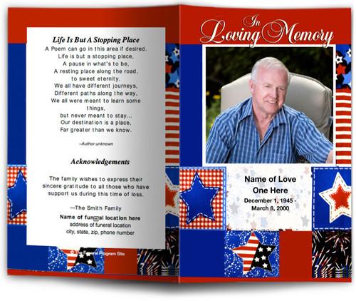 Americana Funeral Program Template