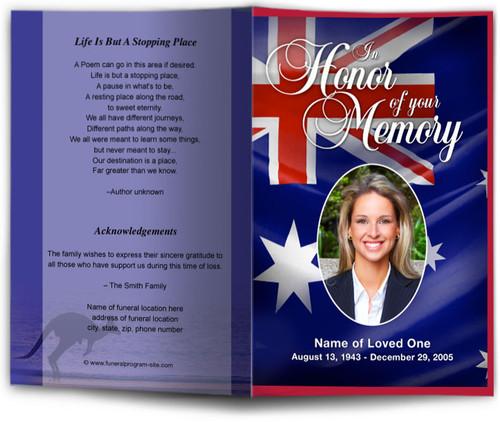 Australia Funeral Program Template