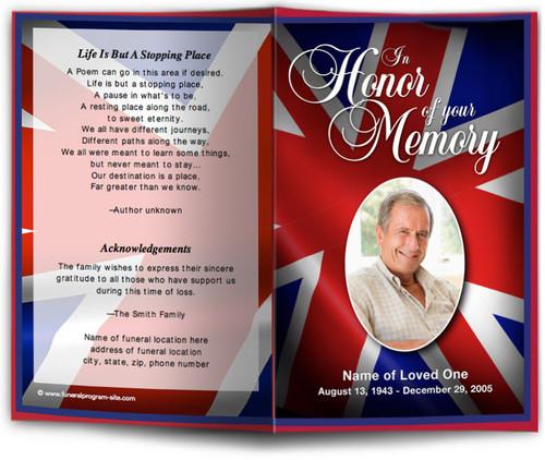UK Flag Funeral Program Template