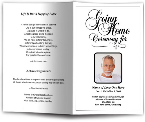 Going Home Funeral Program Template