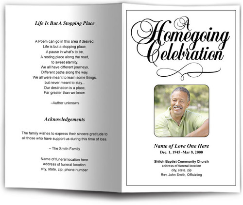 HomeGoing Celebration Funeral Program Template