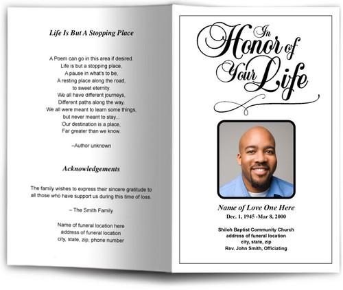 Honor Funeral Program Template