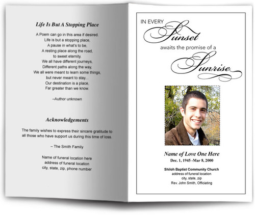 Sunset Funeral Program Template