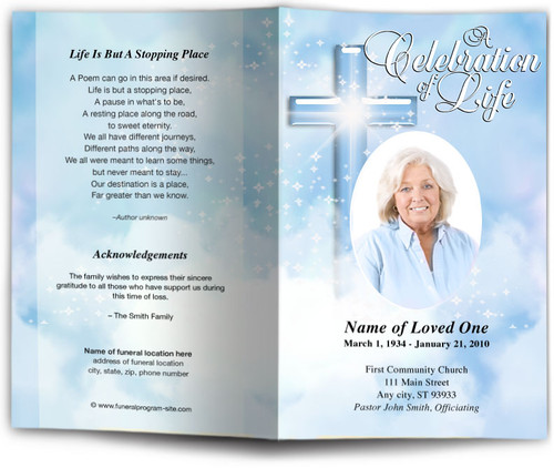 blue Adoration Funeral Program Template