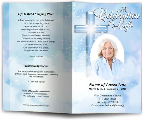 blue Adoration Funeral Program Template