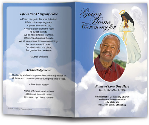 Angel Funeral Program Template dark skin