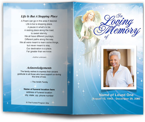 Angelic Funeral Program Template