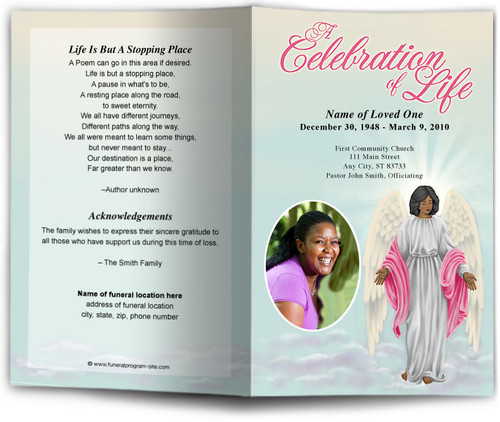 Angelina Funeral Program Template dark skin