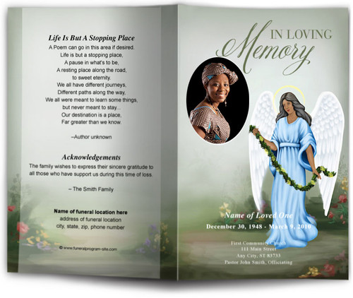 Charity Funeral Program Template dark skin