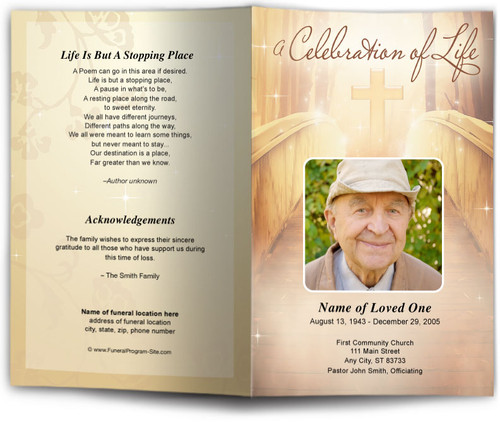 Crossing Funeral Program Template with cross