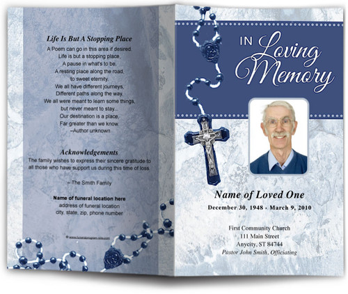 blue Crucifix Funeral Program Template