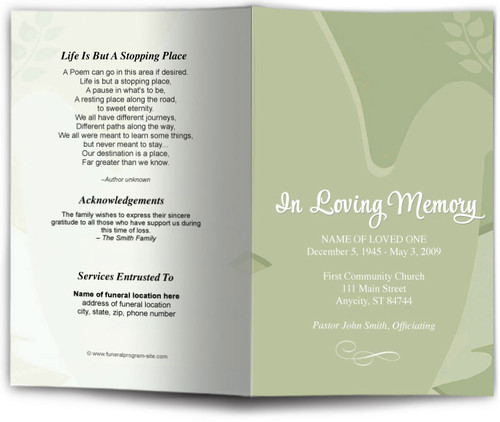 green Dove Funeral Program Template