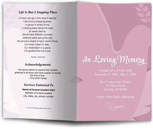 pink Dove Funeral Program Template