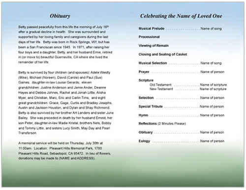 Eve Funeral Program Template inside view