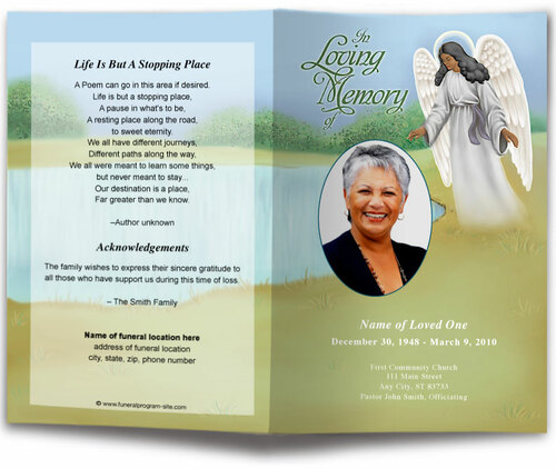 Eve Funeral Program Template dark skin
