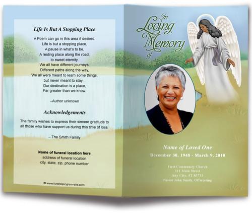 Eve Funeral Program Template dark skin