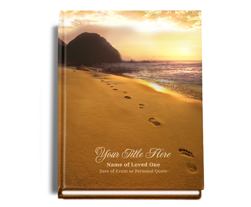 Footprints Perfect Bind Memorial Funeral Guest Book 8x10