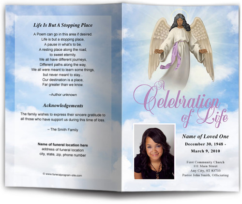 Holy Funeral Program Template dark skin