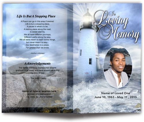 Lighthouse Funeral Program Template