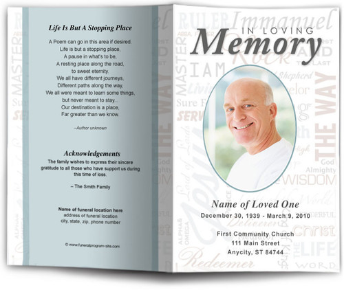 Names Funeral Program Template